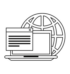 computer with documents and globe in black and vector image