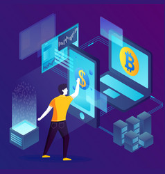 concept - blockchain process investments vector image