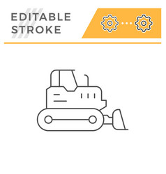 Crawler bulldozer line icon vector
