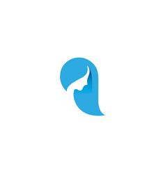 creative blue hair female logo vector image