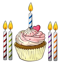 cupcake and candles vector image