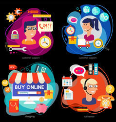 Customer support call center and online shopping vector