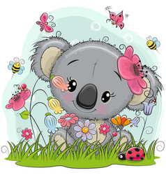 Cute cartoon koala on a meadow vector
