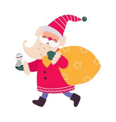 cute little santa claus cartoon character merry vector image