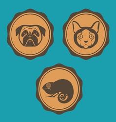 Dog cat and iguana emblem design vector