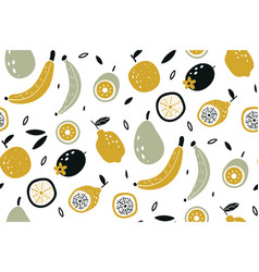 doodle fruits vegan kitchen apple hand drawn vector image