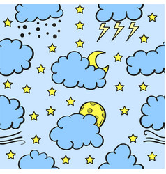 Doodle of weather set cloud style vector