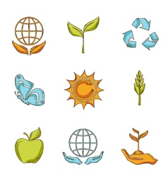 Ecology and waste icons set sketch vector image