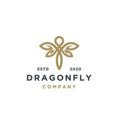 Elegant dragonfly with leaf logo design vector