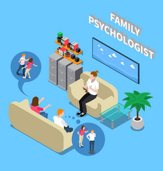 Family psychologist isometric composition vector