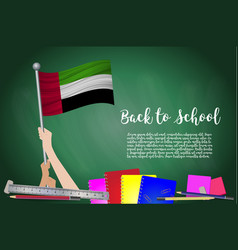 flag of united arab emirates on black chalkboard vector image