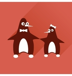 Flat web icon with long shadow pair penguins vector