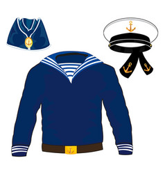 Form sailor and service cap with belt vector