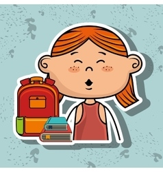 Girl student bag color book vector