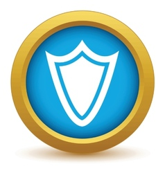Gold shield icon vector