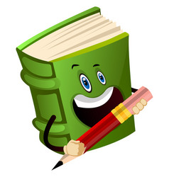 Green book is holding a pencil on white vector