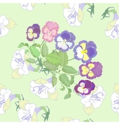 Green seamless pattern with pansies vector