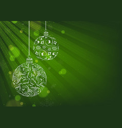 green xmas background with christmas balls vector image