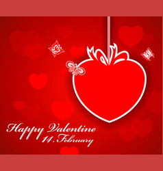 Greeting valentine paper card with lettering vector