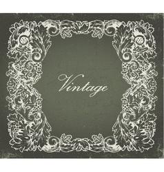 grunge baroque floral frame vector image