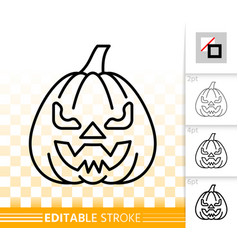 halloween pumpkin face simple line icon vector image