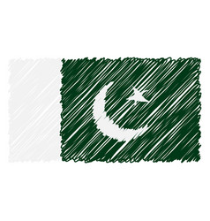 hand drawn national flag of pakistan isolated on a vector image
