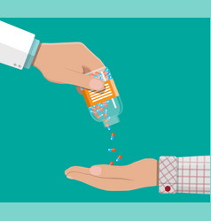 hand of the pharmacist with pills and drugs vector image