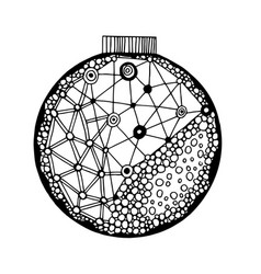 Handdrawn ball with geometric pattern vector