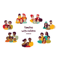 Happy families parents with children isolated vector