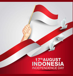 Happy independence day indonesia hands holding vector
