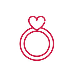 happy valentines day cute ring jewelry heart red vector image
