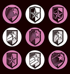 Heraldry set of military forces emblems Detailed vector image