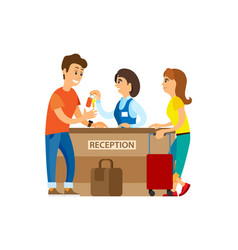 hotel reception receptionist with keys and client vector image
