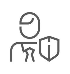 human resource line icon employee insurance vector image