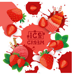 Ice cream with strawberry taste dessert colorful vector
