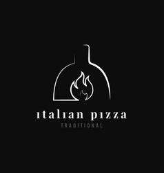 italian pizza logo pizza oven on black background vector image