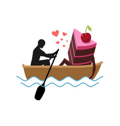 lover of cakes man and piece of cake ride in boat vector image