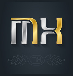 m and x initial gold and silver logo mx vector image