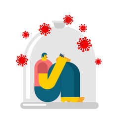 Man in glass bell isolation from coronavirus vector
