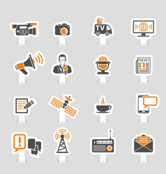 media and news icons sticker set vector image