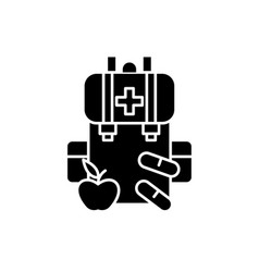 Medical kit black icon sign on isolated vector