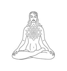 Meditation girl black vector
