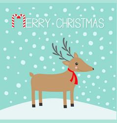 Merry christmas candy cane cute cartoon deer vector