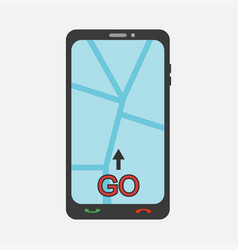 mobile phone with map vector image