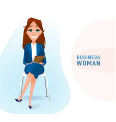 modern business woman in the office sitting on the vector image
