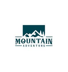Mountain pine trees logo design concept vector