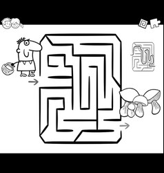 Mushrooming maze coloring page vector
