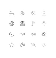 Nature simple linear icons set outlined icons vector