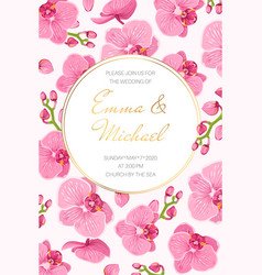 orchid wedding marriage event invitation card vector image