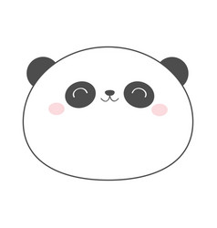Panda bear round face head sketch line icon vector